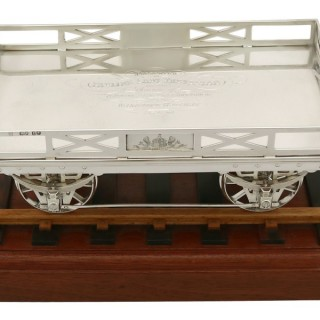 Sterling Silver Presentation Railway Carriage / Centrepiece - Antique Victorian (1860)