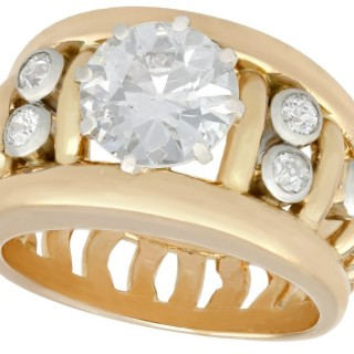 2.0ct Diamond and 18ct Yellow Gold, Platinum Set Dress ring - Antique French Circa 1920