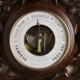 French  Carved Mahogany Aneriod Barometer