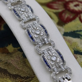 An exquisite Diamond & Sapphire Art Deco  Bracelet mounted in Platinum, English, Circa 1930