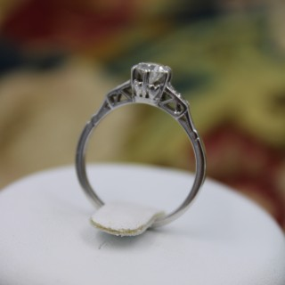 18ct White Gold and Platinum Diamond Solitaire Ring, Circa 1930