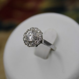 Platinum and Diamond Cluster Ring, circa 1950