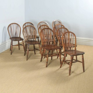 Antique Set of Ten 10 Victorian Ash & Elm Windsor Stick & Hoop Back Kitchen Chairs (Circa 1900)