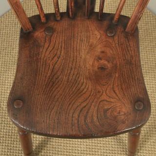 Antique Set of Ten 10 Victorian Ash & Elm Windsor Stick & Hoop Back Kitchen Chairs (Circa 1900)