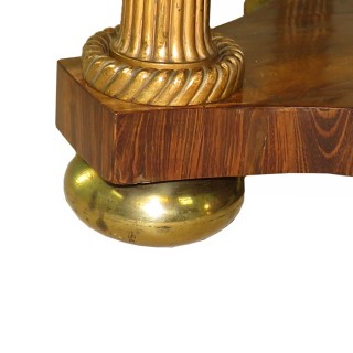 Regency English Rosewood, Parcel Gilt & Brass Centre Table