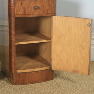 Antique English Pair of Art Deco Burr Walnut Bow Front Bedside Cupboards (Circa 1930)