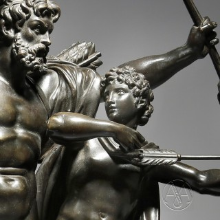 A Patinated Bronze Group Of  'The Education of Achilles By The Centaur Chiron' Cast after The Model By François Rude