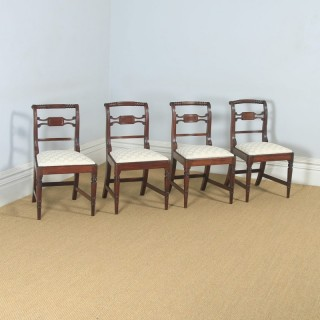 Antique English Set of Four Regency Georgian Mahogany Dining / Side Chairs (Circa 1820)