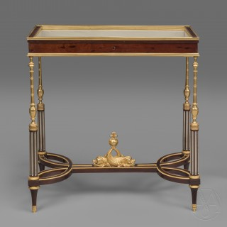 A Rare Pair of Louis XVI Style Gilt-Bronze Mounted Vitrine Tables In The Manner of Weisweiler By Georges-François Alix