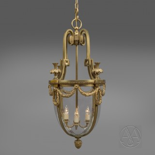 A Fine Louis XVI Style Gilt-Bronze And Glass  Four-Light Hall Lantern