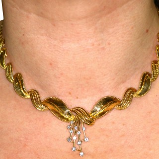 0.54ct Diamond and 18ct Yellow Gold Necklace - Vintage Belgian Circa 1950