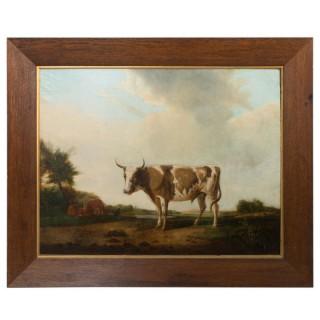 Oil On Canvas Of Cow In Landscape C.1800