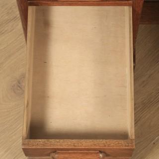 "Antique English Edwardian 4ft"" Solid Oak Roll Top Pedestal Office Desk (Circa 1910)"