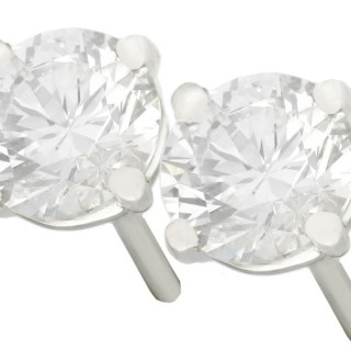 1.06ct Diamond and Platinum Stud Earrings - Vintage and Contemporary
