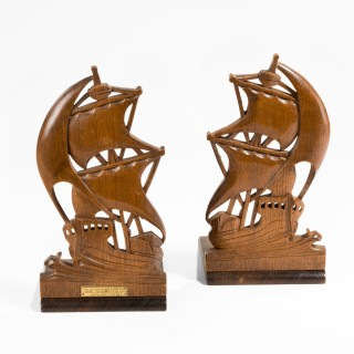 A Pair Of Teak Book Ends From HMS Iron Duke