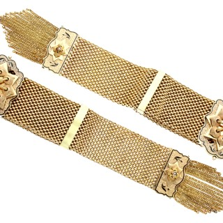 Pearl and Enamel, 14ct Yellow Gold Bracelets - Antique Victorian