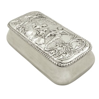 Antique Victorian Sterling Silver Trinket box 1899 - The Music Lesson