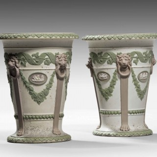 A Rare Pair of Wedgwood Three - Coloured Trumpet Shaped Vases