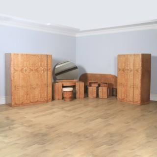 Antique English Art Deco Burr Walnut Six Piece Bedroom Suite by M. P. Davis Furniture of London (Circa 1930)
