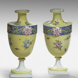 A Rare Pair of 18th Century Bueno Retiro Pale Yellow Ground Vases