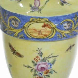 A Rare Pair of 18th Century Bueno Retiro Pale Yellow Ground Vases