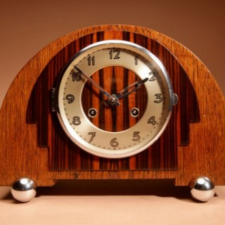 A Very Stylish Typical Art Deco Amsterdam School Chrome, Oak and Macassar Ebony/Coromandel Wood Mantel Clock.