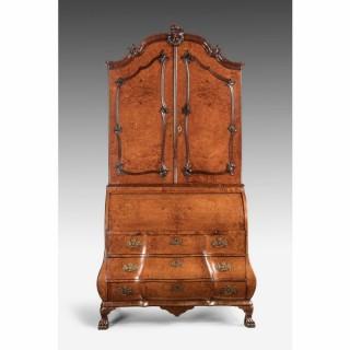 Mid 18th Century Burr Amboyna Bureau Cabinet