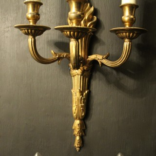 French Set Of 4 Bronze Triple Arm Wall Lights
