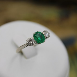 A very fine 18ct White Gold Emerald & Diamond Three Stone Ring Circa 1955.