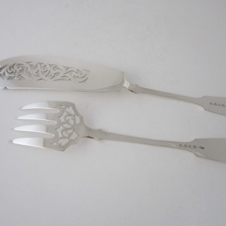 Antique Victorian Sterling silver fish servers