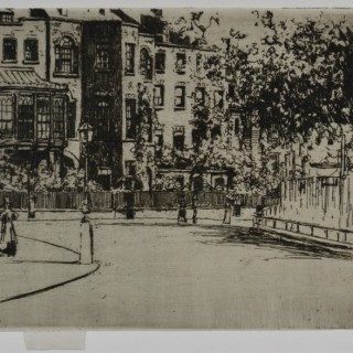 Theodore Roussel - The Corner of Cheyne Walk, Chelsea - etching