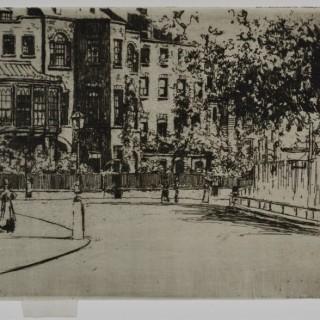 Theodore Roussel - The Corner of Cheyne Walk, Chelsea - etching