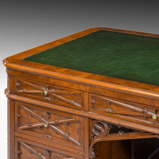 A Very Fine Quality, Late 19th Century Gothic, Mahogany Desk