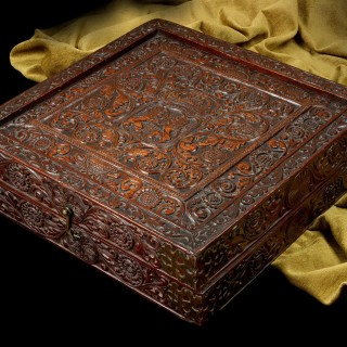 Rare Sri-Lankan/Portuguese Rosewood Games Box, Late 16th-Early 17th Century