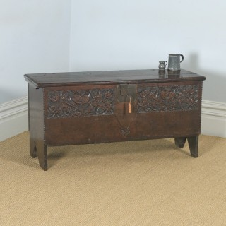 Antique English Charles I Oak Carved Six Plank Boarded Coffer Chest Blanket Box (Circa 1650)