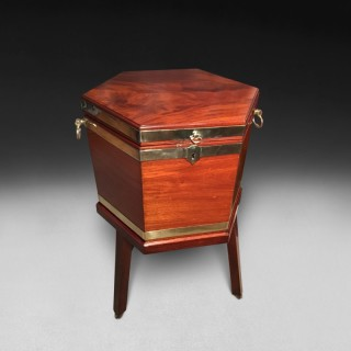 George III period Mahogany and Brass bound hexagonal Wine Cooler