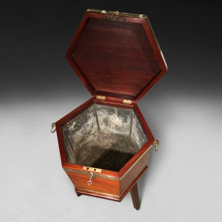 George III period Mahogany and Brass bound hexagonal Wine Cooler