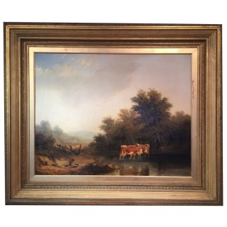 Large 19th Century oil painting of Cattle (Cows) Watering in a landscape
