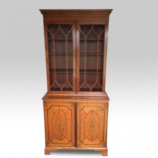 Narrow Sheraton revival Satinwood inlaid bookcase
