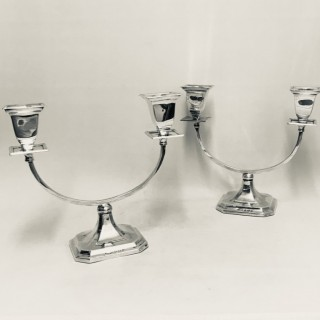PAIR OF SILVER 2 LIGHT CANDELABRA