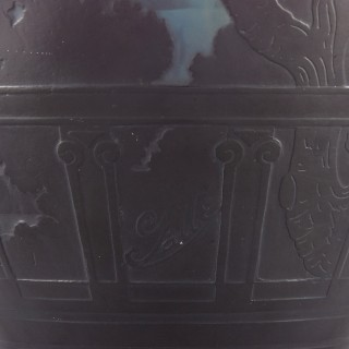 French glass vase with cameo relief design by Émile Gallé