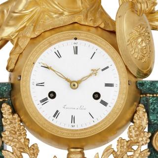 Louis XVI period gilt bronze and malachite clock