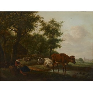 Antique Dutch painting of countryside with figures and animals