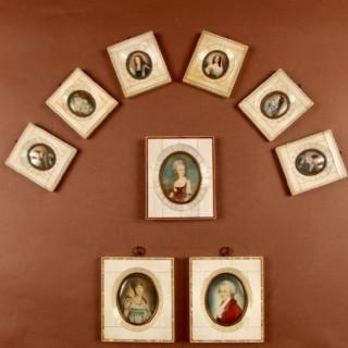 A Collection Off 9 Portrait Miniatures In Bone/Ivory Frames. Italian Circa 1900.