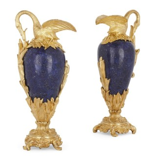 Pair of lapis and gilt bronze swan-neck vases