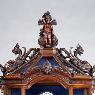 An Italian Carved Walnut Vitrine