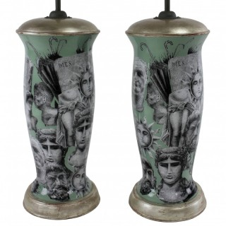 A PAIR OF HAND PAINTED DECLAMANIA FORNASETTI STYLE LAMPS