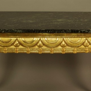 18th Century Italian Louis XVI Neoclassical Giltwood Marble Top Centre Table
