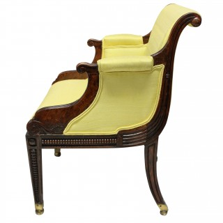 A FINE ENGLISH REGENCY FAUX ROSEWOOD LIBRARY CHAIR