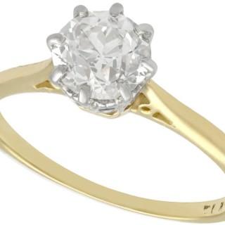 1.25 ct Diamond and 18 ct Yellow Gold, Platinum Set Solitaire Ring - Antique Circa 1920